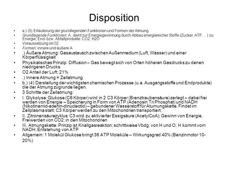 Disposition a.) (5) Erläuterung der grundlegenden Funktionen und Formen der Atmung. Grundlegende Funktionen: A. dient zur Energiegewinnung durch Abbau