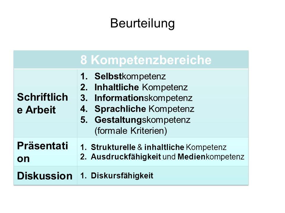 Beurteilung Grundlage: Leistungsbeurteilungsverordnung (§14 Abs.