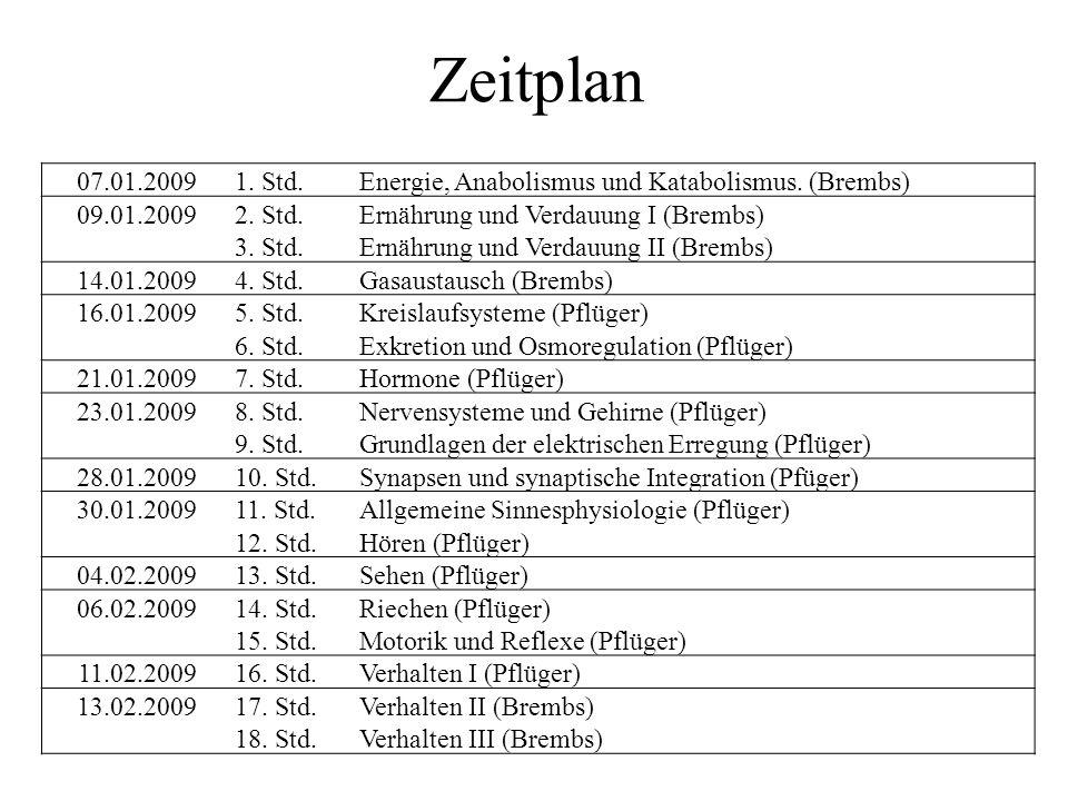 Zeitplan 07.01.20091. Std.Energie, Anabolismus und Katabolismus.
