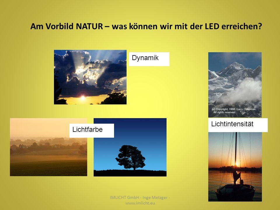 Dynamik Lichtintensität Lichtfarbe IMLICHT GmbH - Inge Metzger - www.imlicht.eu Am Vorbild NATUR – was können wir mit der LED erreichen