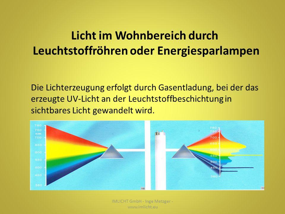 IMLICHT GmbH - Inge Metzger - www.imlicht.eu Licht im Wohnbereich durch Leuchtstoffröhren oder Energiesparlampen Die Lichterzeugung erfolgt durch Gasentladung, bei der das erzeugte UV-Licht an der Leuchtstoffbeschichtung in sichtbares Licht gewandelt wird.