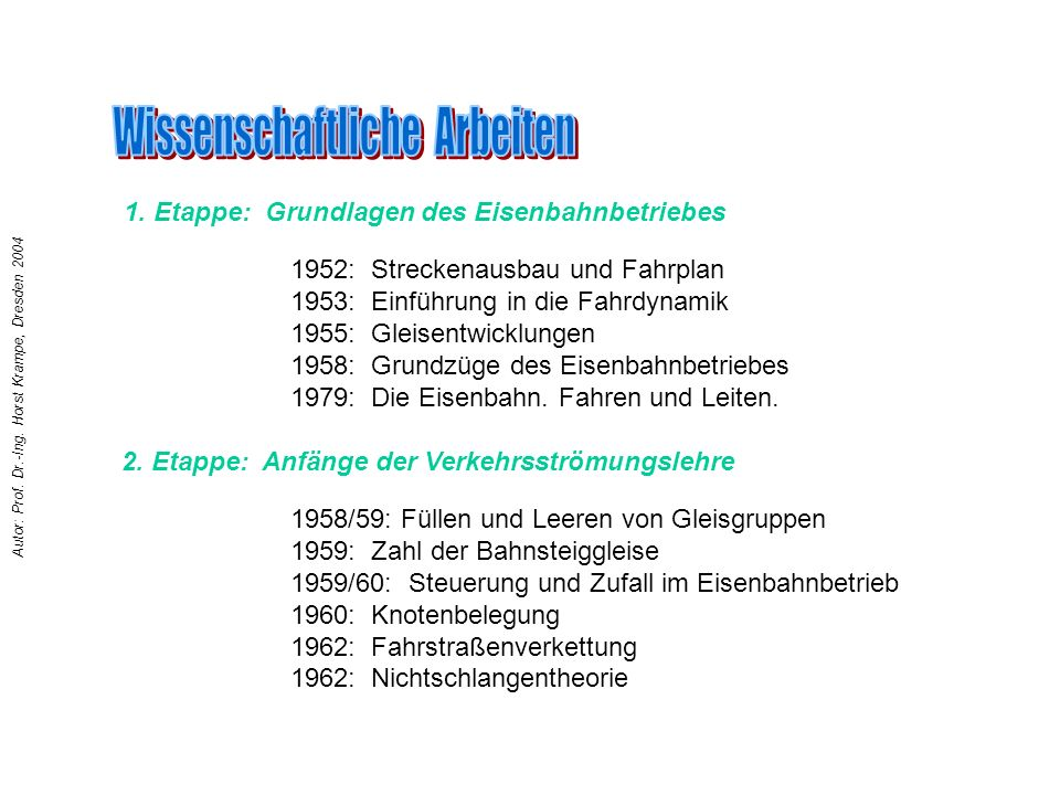 1952: Streckenausbau und Fahrplan 1953: Einführung in die Fahrdynamik 1955: Gleisentwicklungen 1958: Grundzüge des Eisenbahnbetriebes 1979: Die Eisenb