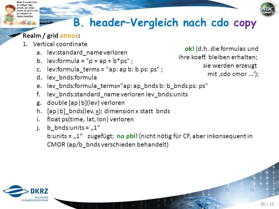 30 / 11 B. header–Vergleich nach cdo copy Realm / grid atmos: 1.Vertical coordinate a.lev:standard_name verloren b.lev:formula =