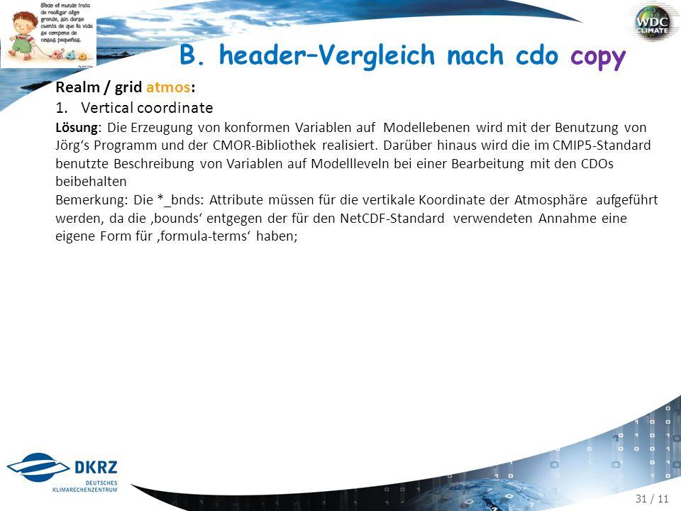 31 / 11 B. header–Vergleich nach cdo copy Realm / grid atmos: 1.Vertical coordinate Lösung: Die Erzeugung von konformen Variablen auf Modellebenen wir