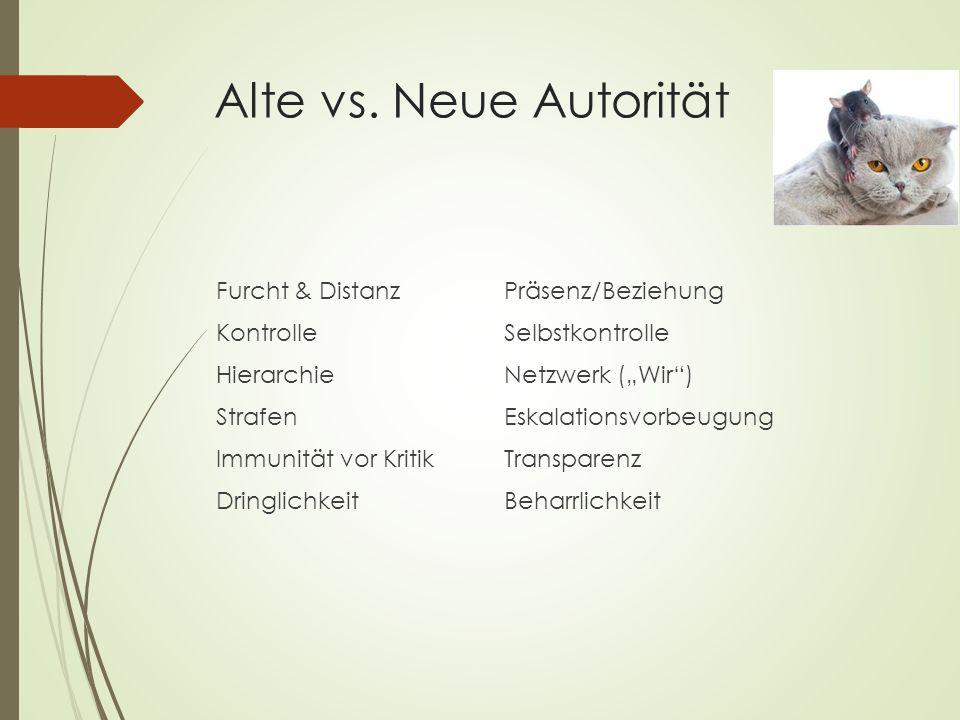 """Alte vs. Neue Autorität Furcht & DistanzPräsenz/Beziehung KontrolleSelbstkontrolle HierarchieNetzwerk (""""Wir"""") StrafenEskalationsvorbeugung Immunität v"""