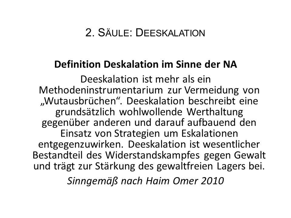 """2. S ÄULE : D EESKALATION Definition Deskalation im Sinne der NA Deeskalation ist mehr als ein Methodeninstrumentarium zur Vermeidung von """"Wutausbrüch"""