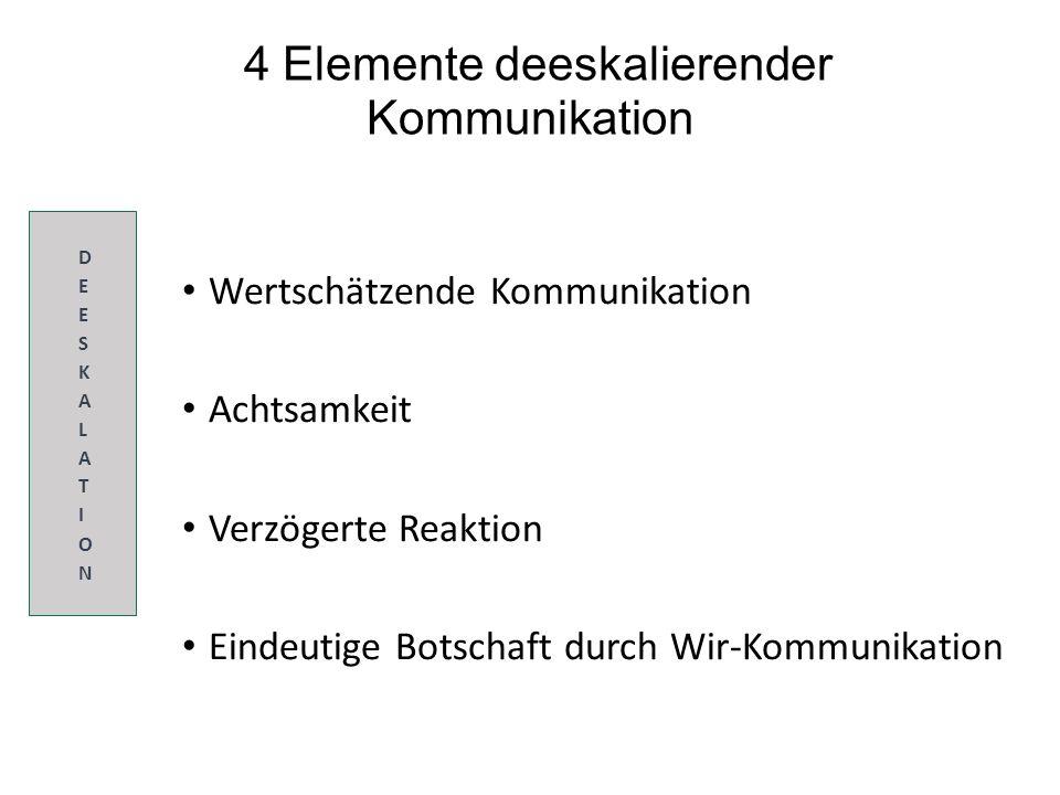 4 Elemente deeskalierender Kommunikation Wertschätzende Kommunikation Achtsamkeit Verzögerte Reaktion Eindeutige Botschaft durch Wir-Kommunikation