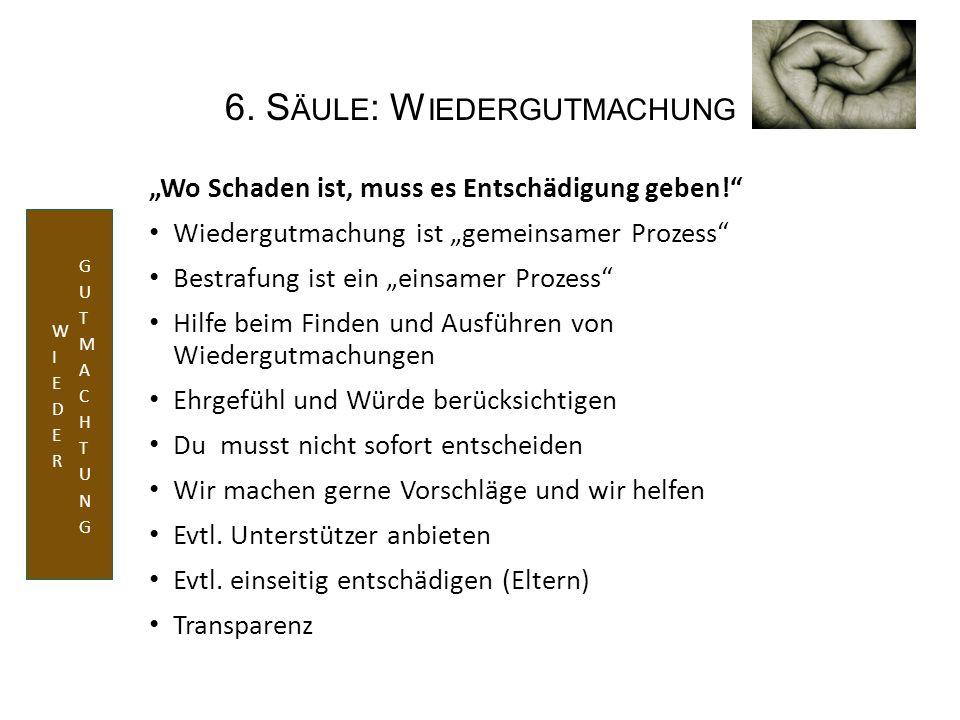 """6. S ÄULE : W IEDERGUTMACHUNG """"Wo Schaden ist, muss es Entschädigung geben!"""" Wiedergutmachung ist """"gemeinsamer Prozess"""" Bestrafung ist ein """"einsamer P"""
