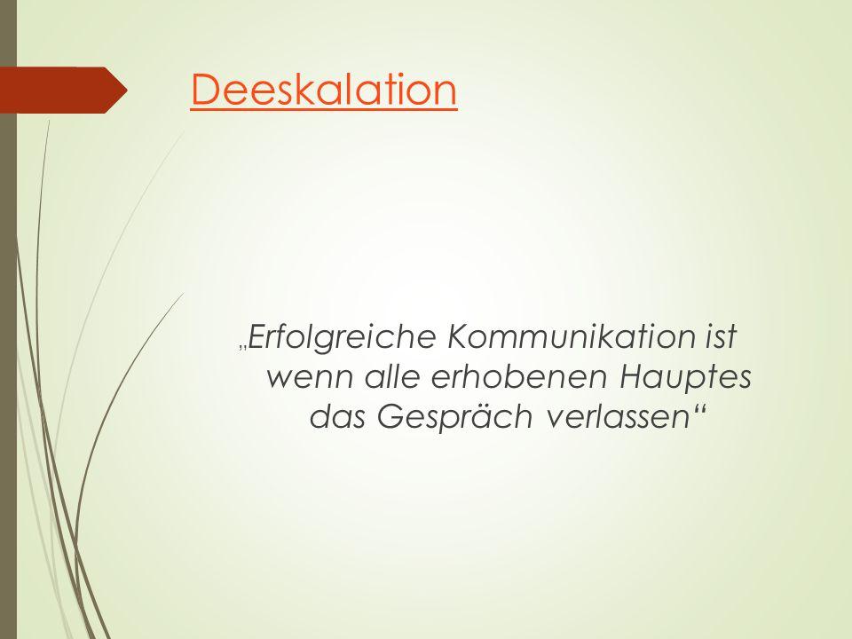 """Deeskalation """" Erfolgreiche Kommunikation ist wenn alle erhobenen Hauptes das Gespräch verlassen"""""""