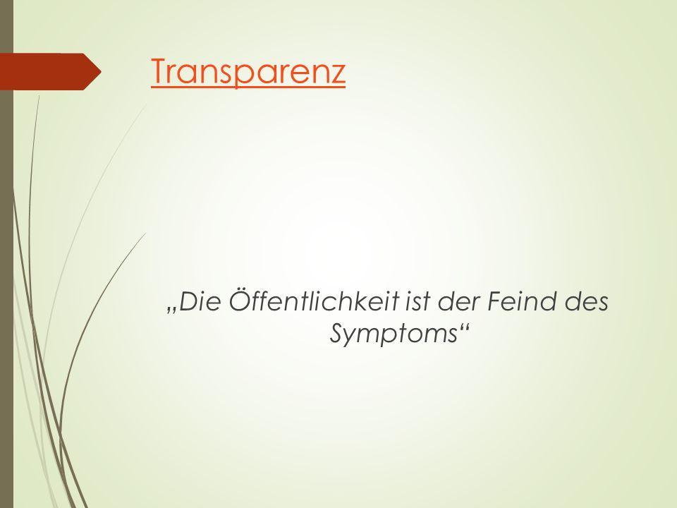 """Transparenz """"Die Öffentlichkeit ist der Feind des Symptoms"""""""