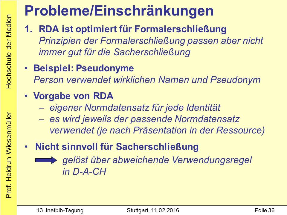 Prof. Heidrun Wiesenmüller Hochschule der Medien 13.
