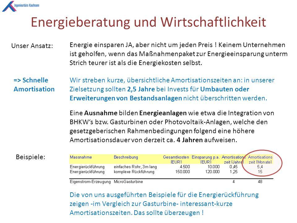 Energieberatung und Wirtschaftlichkeit Unser Ansatz: Energie einsparen JA, aber nicht um jeden Preis .