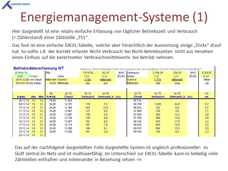"""Energiemanagement-Systeme (1) Hier dargestellt ist eine relativ einfache Erfassung von täglicher Betriebszeit und Verbrauch (= Zählerstand) einer Zählstelle """"TS1 ."""