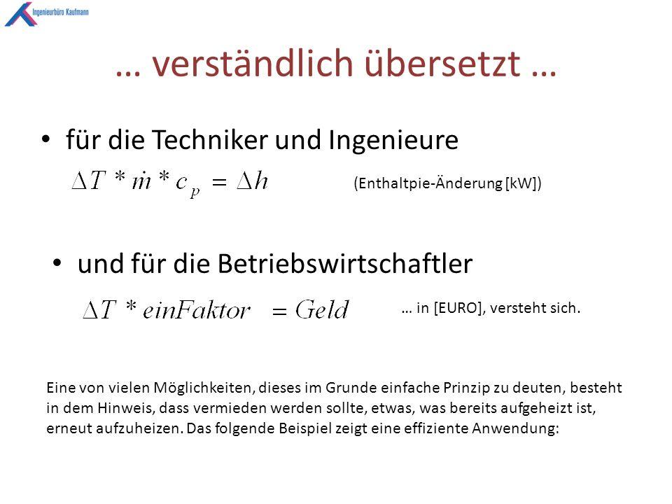… verständlich übersetzt … für die Techniker und Ingenieure (Enthaltpie-Änderung [kW]) und für die Betriebswirtschaftler … in [EURO], versteht sich.