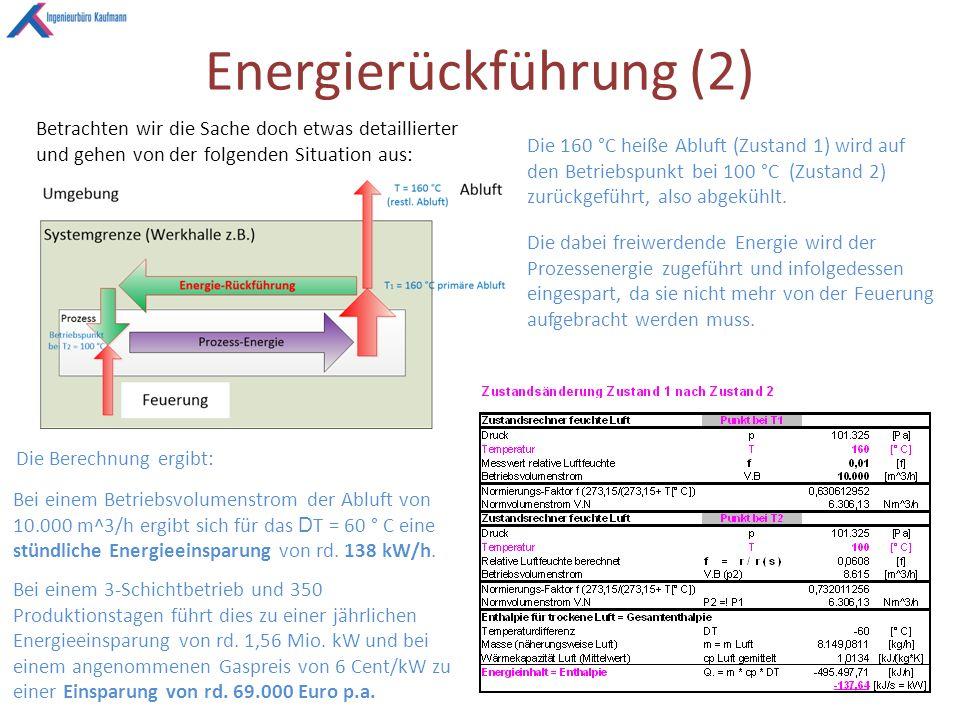 Energierückführung (2) Betrachten wir die Sache doch etwas detaillierter und gehen von der folgenden Situation aus: Die 160 °C heiße Abluft (Zustand 1) wird auf den Betriebspunkt bei 100 °C (Zustand 2) zurückgeführt, also abgekühlt.
