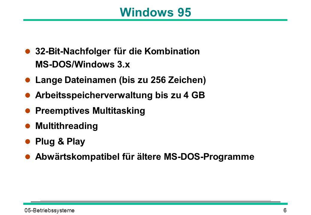 05-Betriebssysteme6 Windows 95 l 32-Bit-Nachfolger für die Kombination MS-DOS/Windows 3.x l Lange Dateinamen (bis zu 256 Zeichen) l Arbeitsspeicherverwaltung bis zu 4 GB l Preemptives Multitasking l Multithreading l Plug & Play l Abwärtskompatibel für ältere MS-DOS-Programme