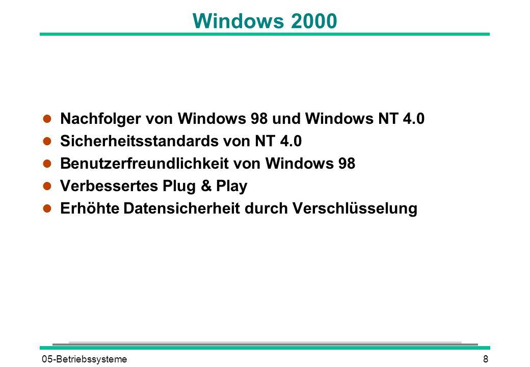 05-Betriebssysteme8 Windows 2000 l Nachfolger von Windows 98 und Windows NT 4.0 l Sicherheitsstandards von NT 4.0 l Benutzerfreundlichkeit von Windows 98 l Verbessertes Plug & Play l Erhöhte Datensicherheit durch Verschlüsselung