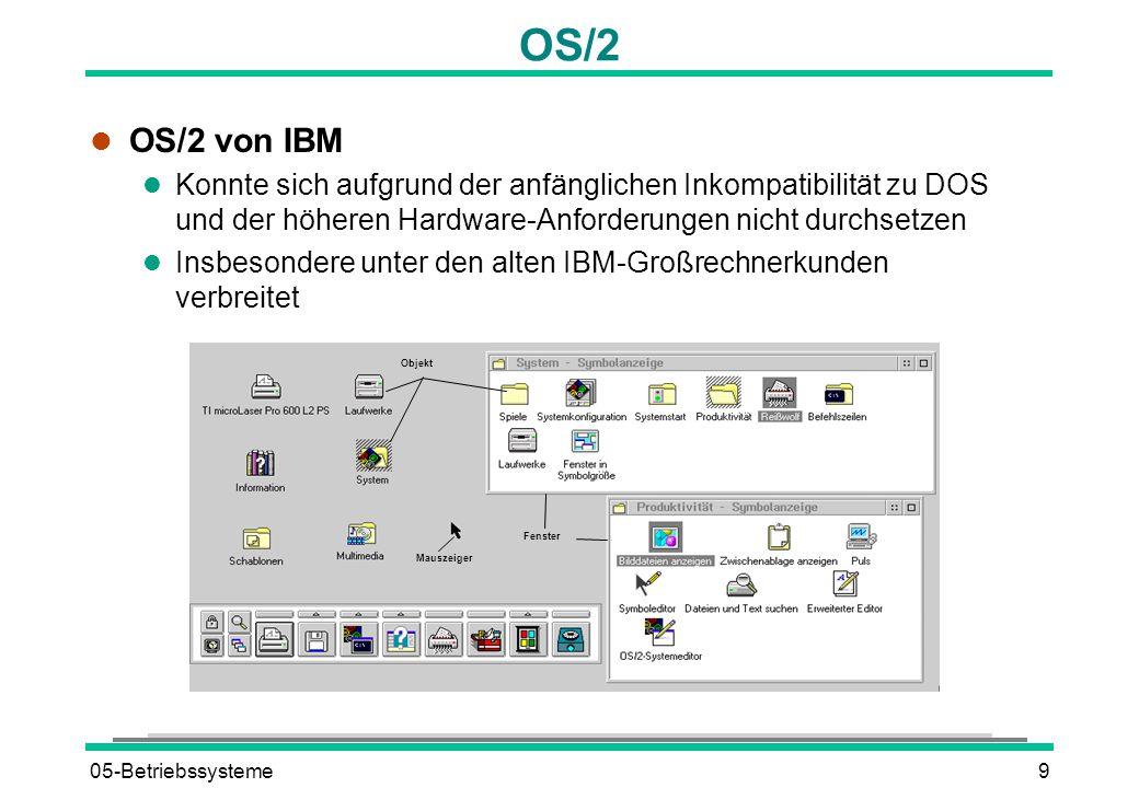 05-Betriebssysteme9 OS/2 l OS/2 von IBM l Konnte sich aufgrund der anfänglichen Inkompatibilität zu DOS und der höheren Hardware-Anforderungen nicht durchsetzen l Insbesondere unter den alten IBM-Großrechnerkunden verbreitet Mauszeiger Fenster Objekt