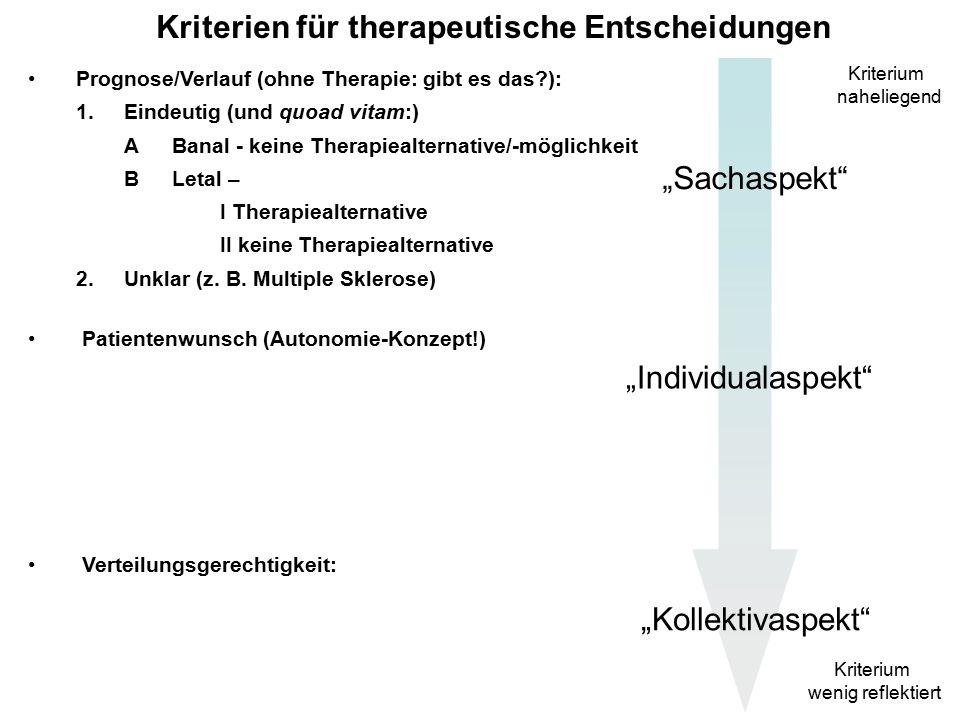 """Kriterien für therapeutische Entscheidungen Prognose/Verlauf (ohne Therapie: gibt es das ): Patientenwunsch (Autonomie-Konzept!) Verteilungsgerechtigkeit: Kriterium naheliegend Kriterium wenig reflektiert """"Sachaspekt """"Individualaspekt """"Kollektivaspekt"""