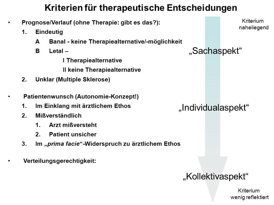 Kriterien für therapeutische Entscheidungen Prognose/Verlauf (ohne Therapie: gibt es das ): 1.Eindeutig (und quoad vitam:) ABanal - keine Therapiealternative/-möglichkeit BLetal – I Therapiealternative II keine Therapiealternative 2.Unklar (z.
