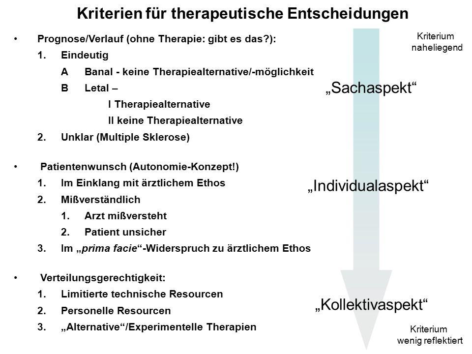 """Kriterien für therapeutische Entscheidungen Prognose/Verlauf (ohne Therapie: gibt es das ): 1.Eindeutig ABanal - keine Therapiealternative/-möglichkeit BLetal – I Therapiealternative II keine Therapiealternative 2.Unklar (Multiple Sklerose) Patientenwunsch (Autonomie-Konzept!) 1.Im Einklang mit ärztlichem Ethos 2.Mißverständlich 1.Arzt mißversteht 2.Patient unsicher 3.Im """"prima facie -Widerspruch zu ärztlichem Ethos Verteilungsgerechtigkeit: Kriterium naheliegend Kriterium wenig reflektiert """"Sachaspekt """"Individualaspekt """"Kollektivaspekt"""