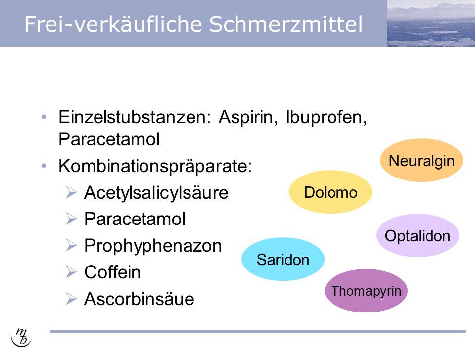 Frei-verkäufliche Schmerzmittel Einzelstubstanzen: Aspirin, Ibuprofen, Paracetamol Kombinationspräparate:  Acetylsalicylsäure  Paracetamol  Prophyphenazon  Coffein  Ascorbinsäue Saridon Optalidon Thomapyrin Dolomo Neuralgin
