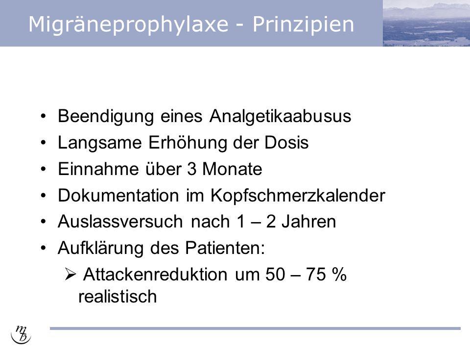 Migräneprophylaxe - Prinzipien Beendigung eines Analgetikaabusus Langsame Erhöhung der Dosis Einnahme über 3 Monate Dokumentation im Kopfschmerzkalender Auslassversuch nach 1 – 2 Jahren Aufklärung des Patienten:  Attackenreduktion um 50 – 75 % realistisch
