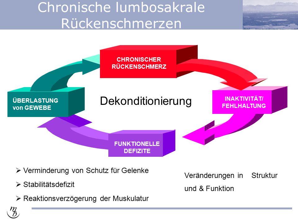 Chronische lumbosakrale Rückenschmerzen Veränderungen in Struktur und & Funktion  Verminderung von Schutz für Gelenke  Stabilitätsdefizit  Reaktionsverzögerung der Muskulatur ÜBERLASTUNG von GEWEBE CHRONISCHER RÜCKENSCHMERZ FUNKTIONELLE DEFIZITE INAKTIVITÄT/ FEHLHALTUNG Dekonditionierung