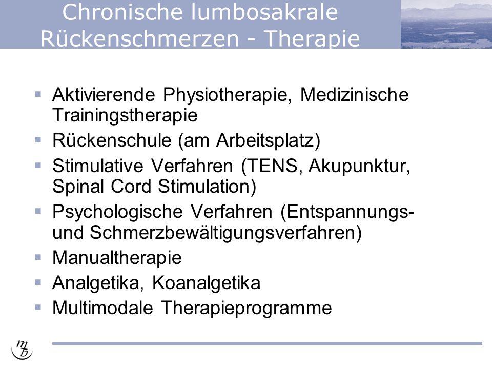 Chronische lumbosakrale Rückenschmerzen - Therapie  Aktivierende Physiotherapie, Medizinische Trainingstherapie  Rückenschule (am Arbeitsplatz)  Stimulative Verfahren (TENS, Akupunktur, Spinal Cord Stimulation)  Psychologische Verfahren (Entspannungs- und Schmerzbewältigungsverfahren)  Manualtherapie  Analgetika, Koanalgetika  Multimodale Therapieprogramme