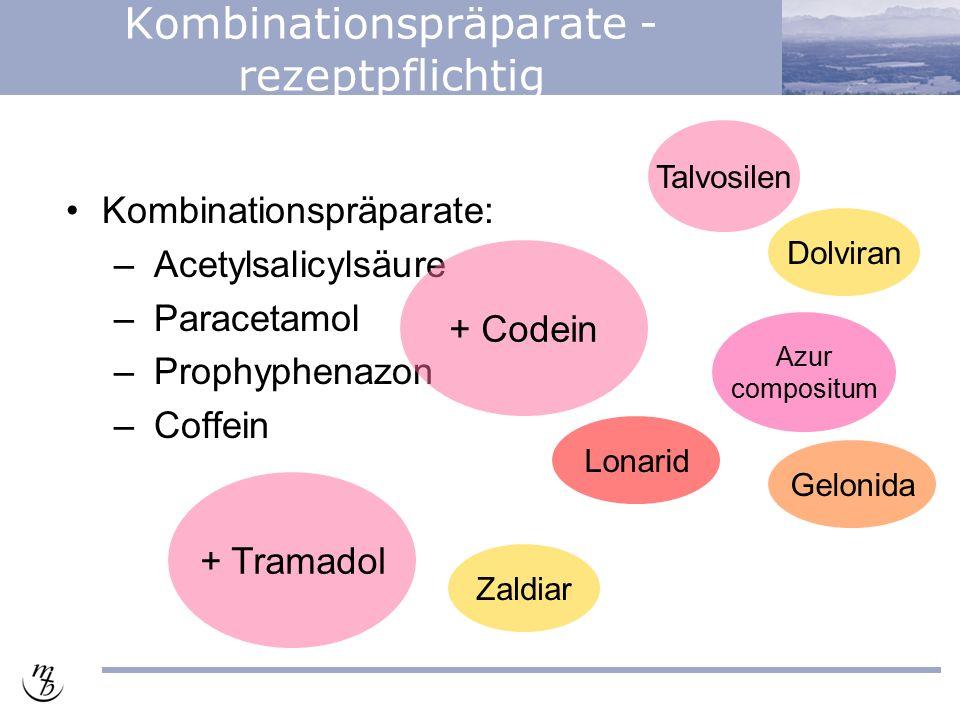 Kombinationspräparate - rezeptpflichtig Kombinationspräparate: – Acetylsalicylsäure – Paracetamol – Prophyphenazon – Coffein + Codein Gelonida Azur co