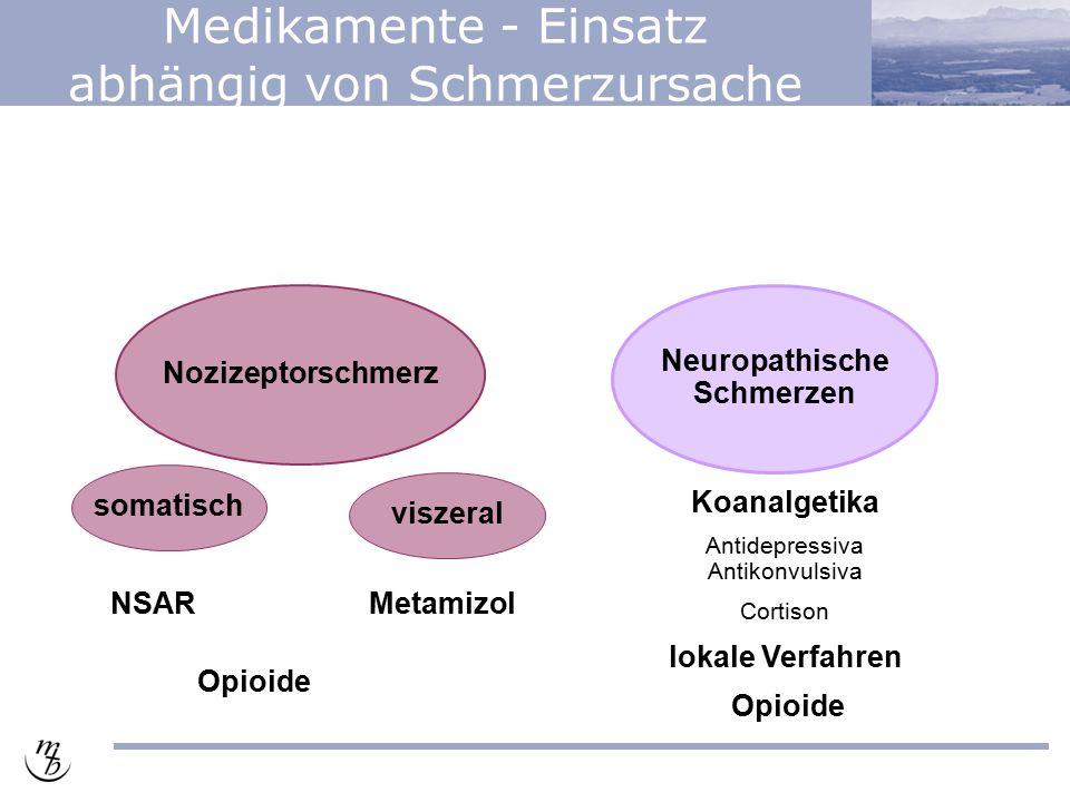 Medikamente - Einsatz abhängig von Schmerzursache Nozizeptorschmerz Neuropathische Schmerzen somatisch viszeral NSARMetamizol Koanalgetika Antidepressiva Antikonvulsiva Cortison lokale Verfahren Opioide