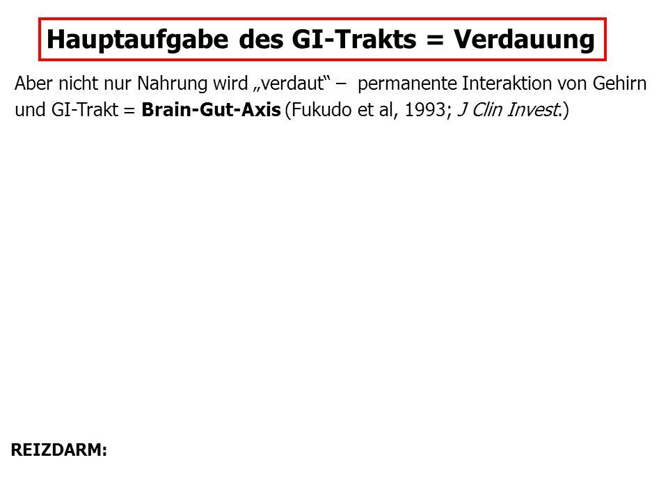 """Hauptaufgabe des GI-Trakts = Verdauung Aber nicht nur Nahrung wird """"verdaut"""" – permanente Interaktion von Gehirn und GI-Trakt = Brain-Gut-Axis (Fukudo"""