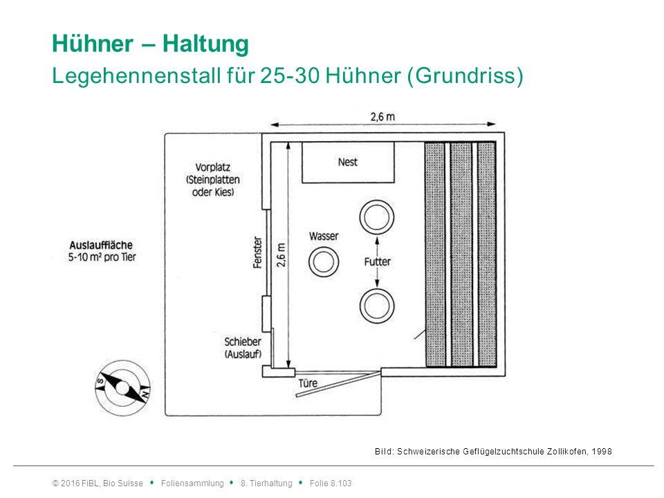 Hühner – Haltung Legehennenstall für 25-30 Hühner (Grundriss) Bild: Schweizerische Geflügelzuchtschule Zollikofen, 1998 © 2016 FiBL, Bio Suisse Folien