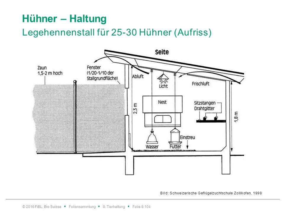 Hühner – Haltung Legehennenstall für 25-30 Hühner (Aufriss) Bild: Schweizerische Geflügelzuchtschule Zollikofen, 1998 © 2016 FiBL, Bio Suisse Foliensa