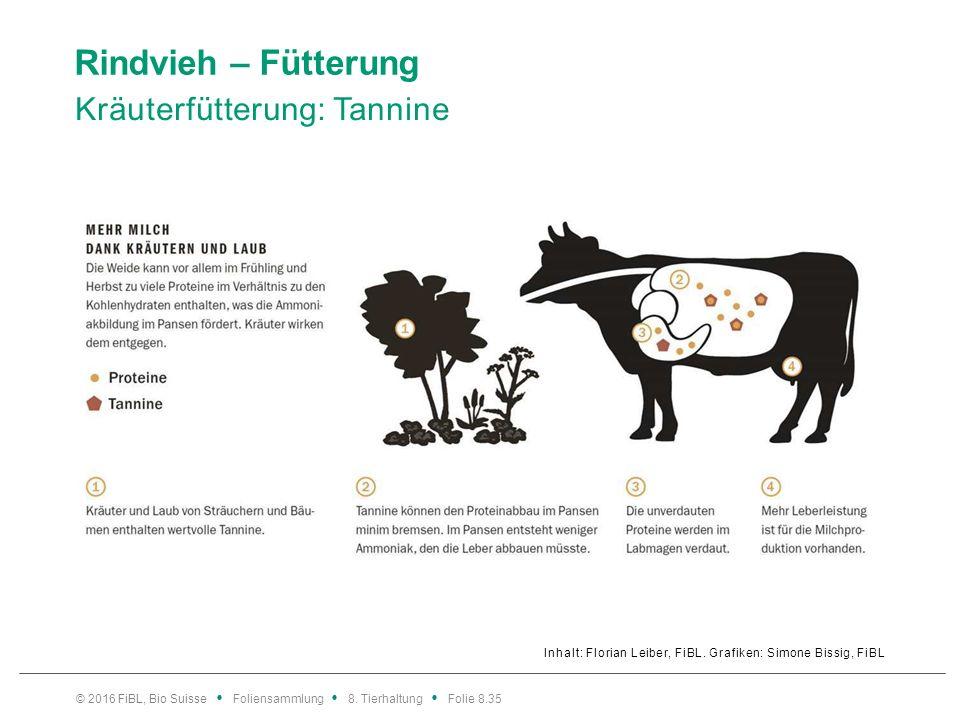 Rindvieh – Fütterung Kräuterfütterung: Tannine Inhalt: Florian Leiber, FiBL. Grafiken: Simone Bissig, FiBL © 2016 FiBL, Bio Suisse Foliensammlung 8. T