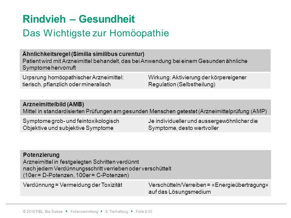 Rindvieh – Gesundheit Das Wichtigste zur Homöopathie © 2016 FiBL, Bio Suisse Foliensammlung 8. Tierhaltung Folie 8.50 Ähnlichkeitsregel (Similia simil