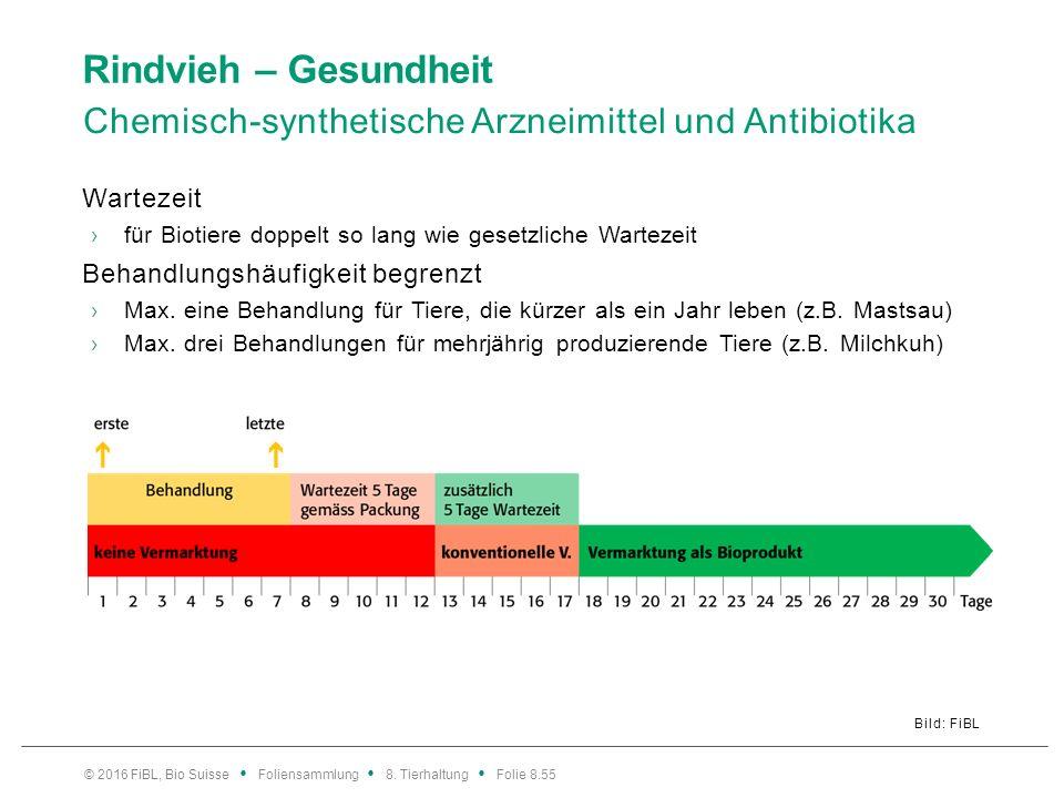 Rindvieh – Gesundheit Chemisch-synthetische Arzneimittel und Antibiotika Bild: FiBL Wartezeit ›für Biotiere doppelt so lang wie gesetzliche Wartezeit