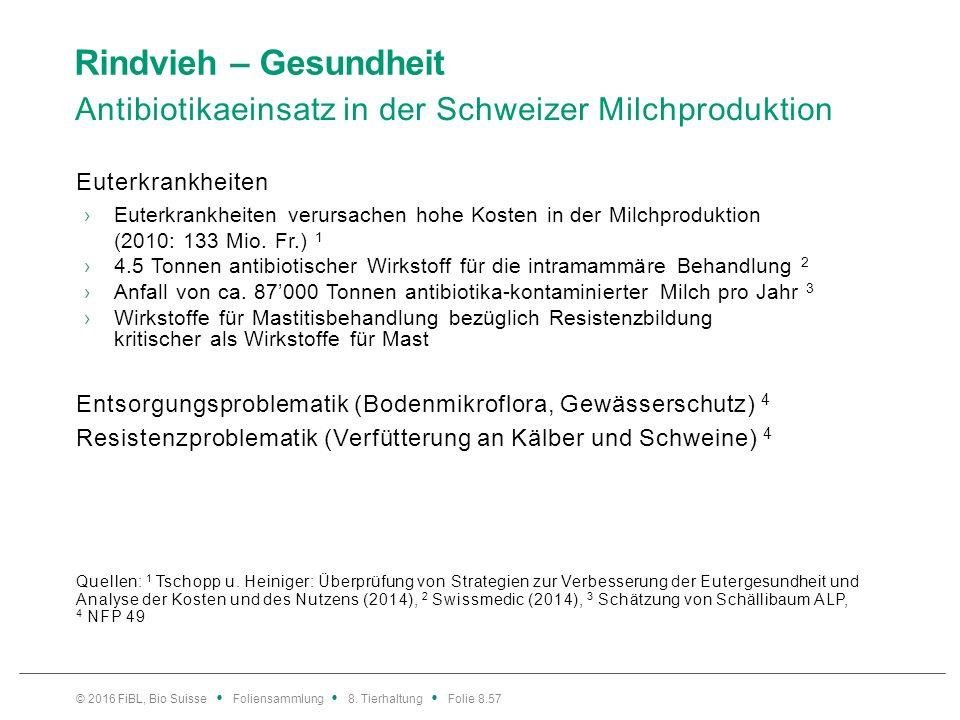 Rindvieh – Gesundheit Antibiotikaeinsatz in der Schweizer Milchproduktion Euterkrankheiten ›Euterkrankheiten verursachen hohe Kosten in der Milchprodu