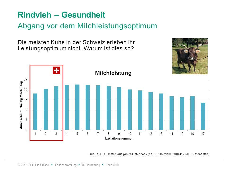 Rindvieh – Gesundheit Quelle: FiBL, Daten aus pro-Q-Datenbank (ca. 300 Betriebe; 380'417 MLP Datensätze) Die meisten Kühe in der Schweiz erleben ihr L