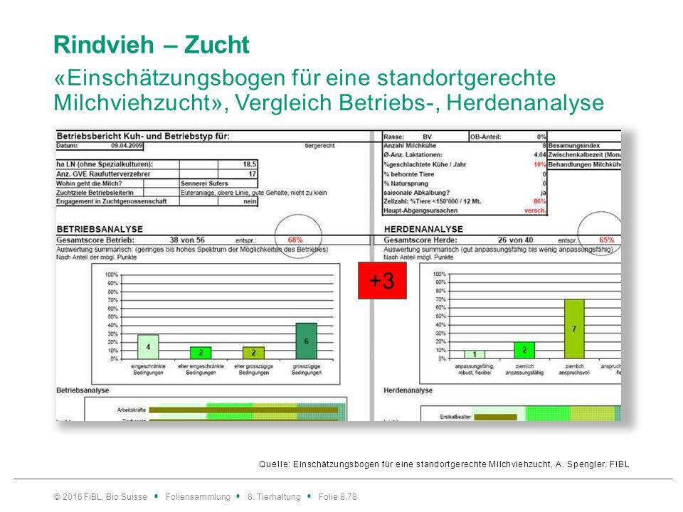 Rindvieh – Zucht «Einschätzungsbogen für eine standortgerechte Milchviehzucht», Vergleich Betriebs-, Herdenanalyse Quelle: Einschätzungsbogen für eine