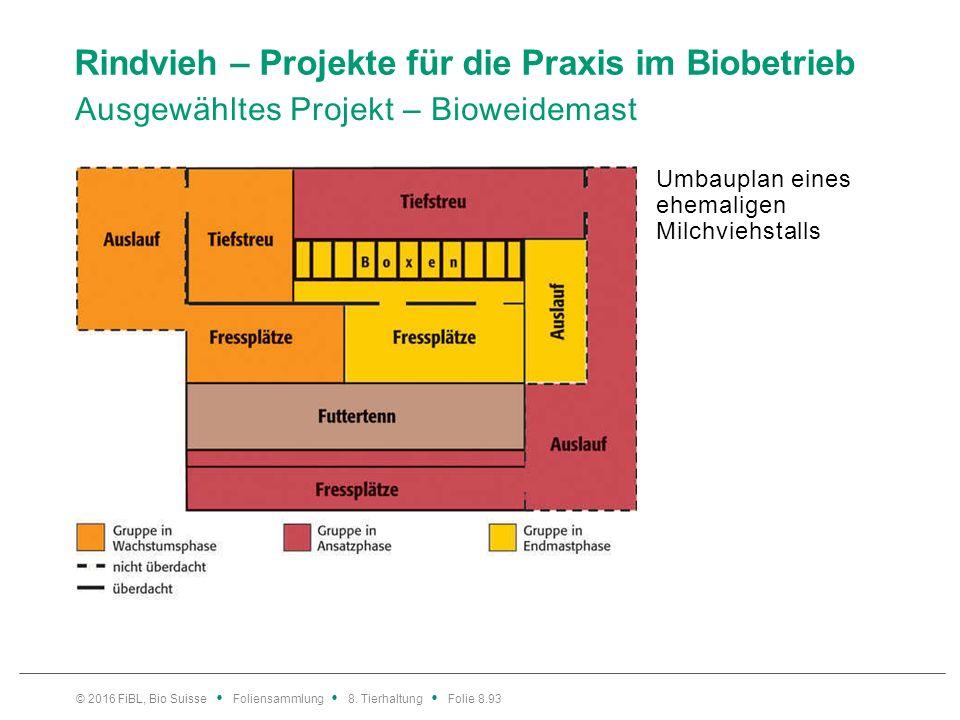 Rindvieh – Projekte für die Praxis im Biobetrieb Ausgewähltes Projekt – Bioweidemast Umbauplan eines ehemaligen Milchviehstalls © 2016 FiBL, Bio Suiss
