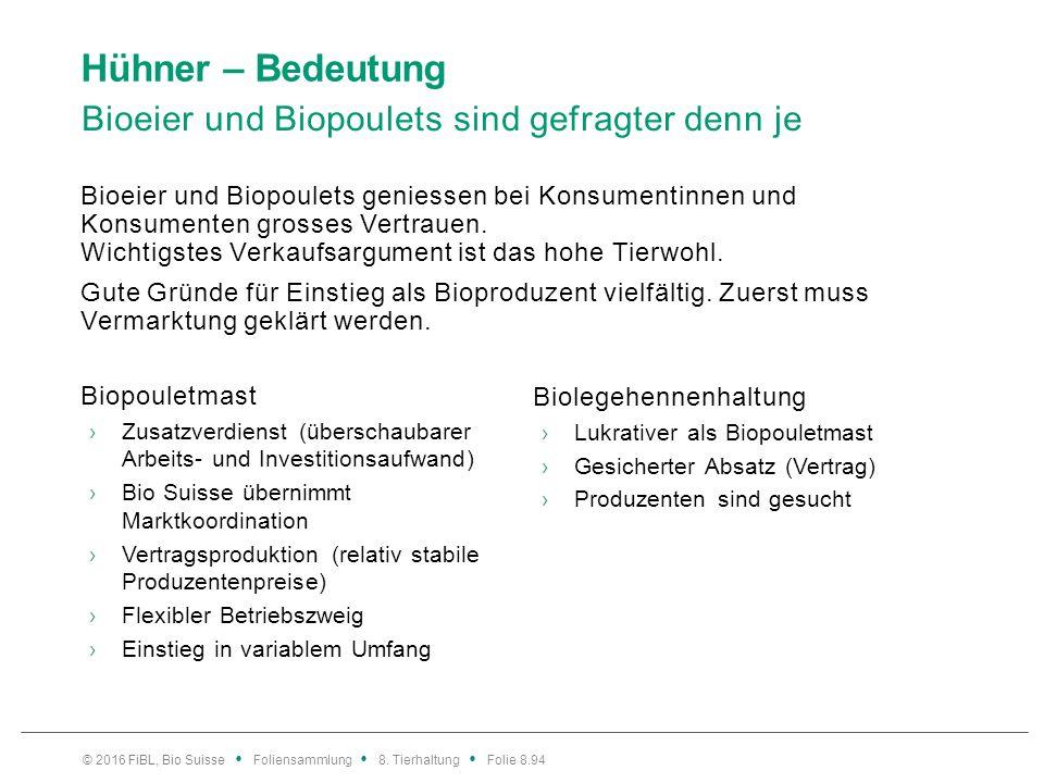 Hühner – Bedeutung Bioeier und Biopoulets sind gefragter denn je Bioeier und Biopoulets geniessen bei Konsumentinnen und Konsumenten grosses Vertrauen