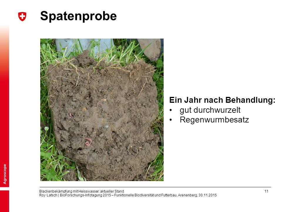 11 Blackenbekämpfung mit Heisswasser: aktueller Stand Roy Latsch | BioForschungs-Infotagung 2015 – Funktionelle Biodiversität und Futterbau, Arenenber