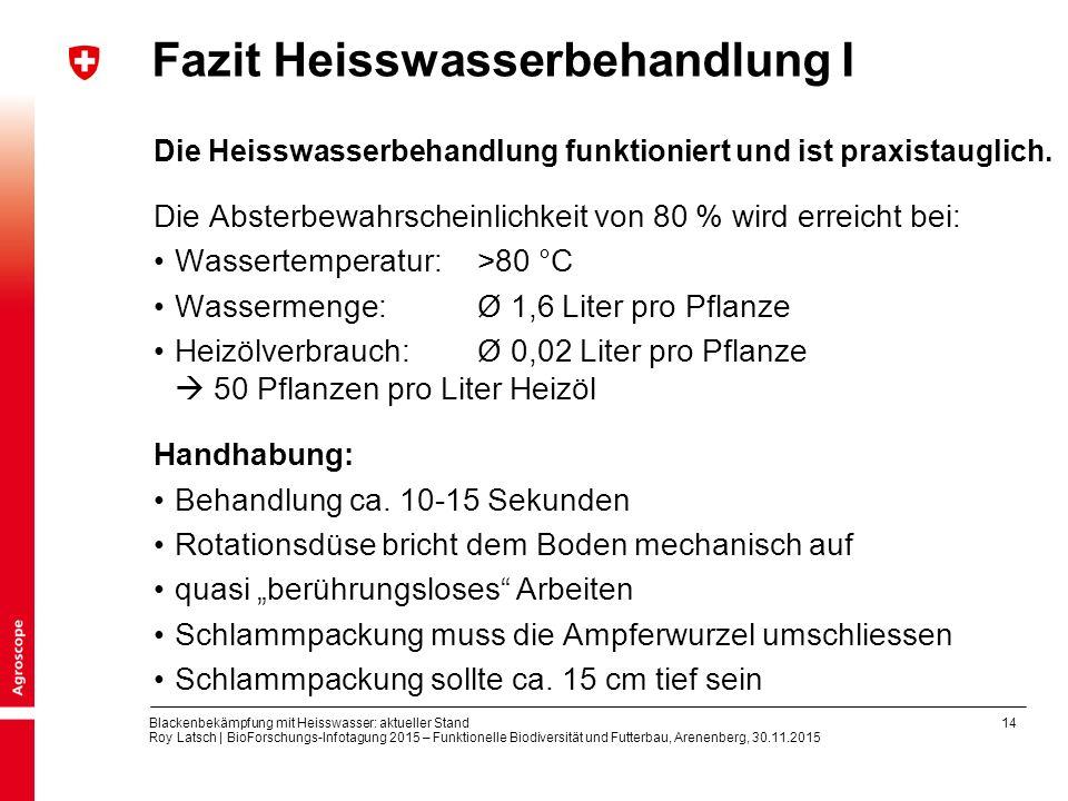 14 Blackenbekämpfung mit Heisswasser: aktueller Stand Roy Latsch | BioForschungs-Infotagung 2015 – Funktionelle Biodiversität und Futterbau, Arenenberg, 30.11.2015 Fazit Heisswasserbehandlung I Die Heisswasserbehandlung funktioniert und ist praxistauglich.