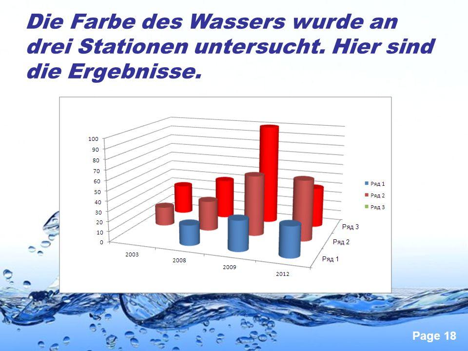 Page 18 Die Farbe des Wassers wurde an drei Stationen untersucht. Hier sind die Ergebnisse.