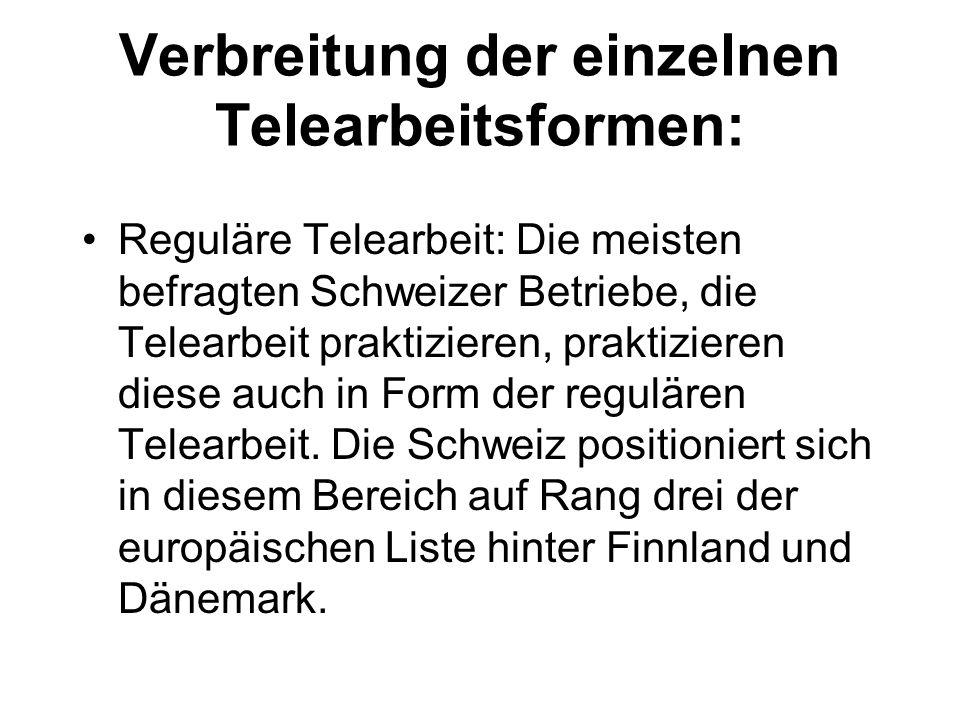 Verbreitung der einzelnen Telearbeitsformen: Reguläre Telearbeit: Die meisten befragten Schweizer Betriebe, die Telearbeit praktizieren, praktizieren diese auch in Form der regulären Telearbeit.