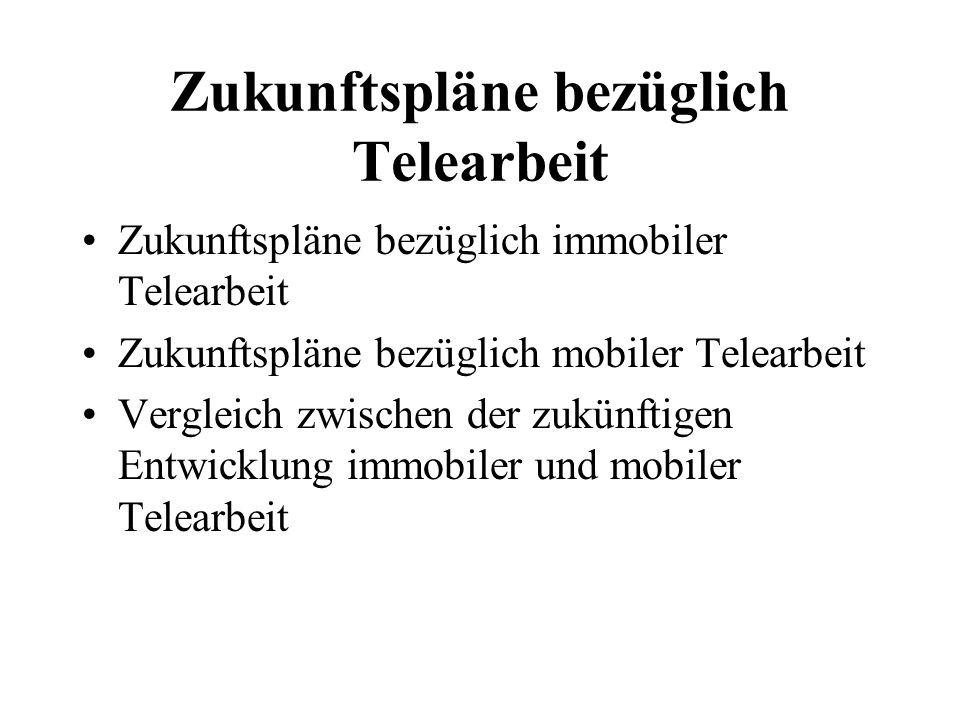 Zukunftspläne bezüglich Telearbeit Zukunftspläne bezüglich immobiler Telearbeit Zukunftspläne bezüglich mobiler Telearbeit Vergleich zwischen der zukünftigen Entwicklung immobiler und mobiler Telearbeit