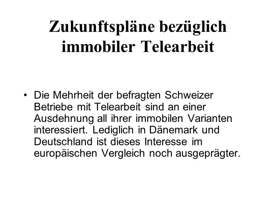 Zukunftspläne bezüglich immobiler Telearbeit Die Mehrheit der befragten Schweizer Betriebe mit Telearbeit sind an einer Ausdehnung all ihrer immobilen Varianten interessiert.