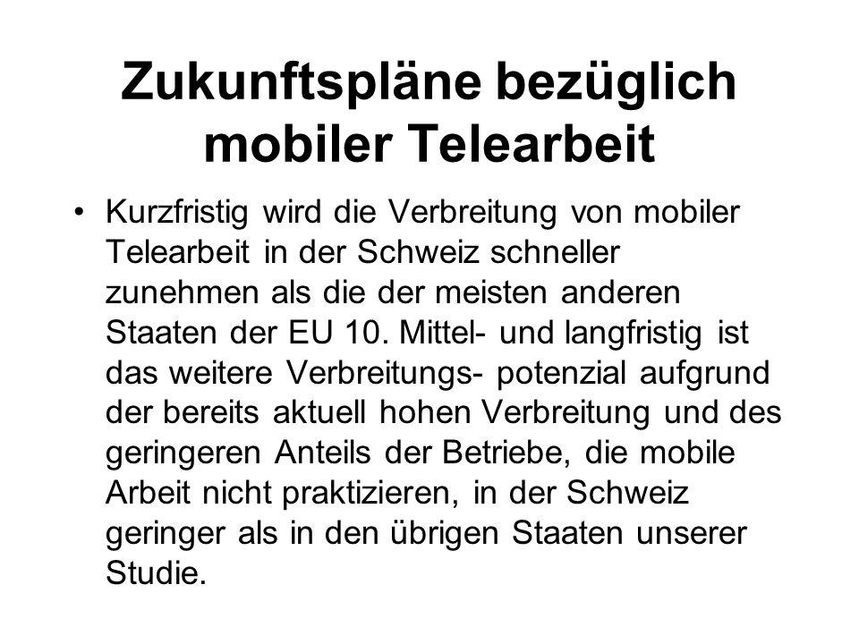 Zukunftspläne bezüglich mobiler Telearbeit Kurzfristig wird die Verbreitung von mobiler Telearbeit in der Schweiz schneller zunehmen als die der meisten anderen Staaten der EU 10.