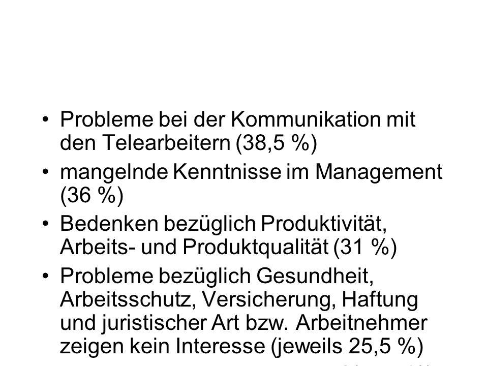 Probleme bei der Kommunikation mit den Telearbeitern (38,5 %) mangelnde Kenntnisse im Management (36 %) Bedenken bezüglich Produktivität, Arbeits- und Produktqualität (31 %) Probleme bezüglich Gesundheit, Arbeitsschutz, Versicherung, Haftung und juristischer Art bzw.